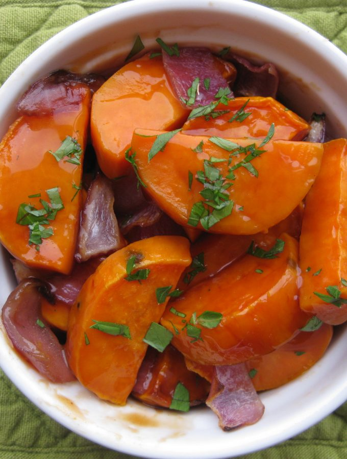 Whiskey Caramel Glazed Sweet Potatoes