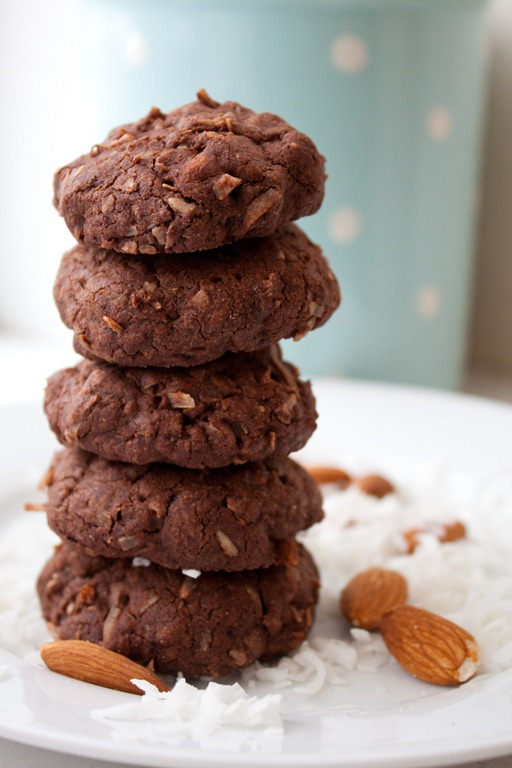 Dark Chocolate Almond Joy Cookies Recipe! These little cookies have a deep chocolate flavor and are loaded with sweet coconut, just like an Almond Joy candy bar!