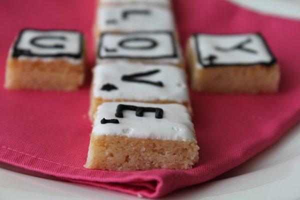Shortbread Valentines Day Scrabble Letter Cookies