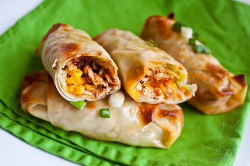 Baked Barbecue Chicken Egg Rolls Recipe! These are a delicious and light appetizer! Kid friendly and super duper crowd pleasing!