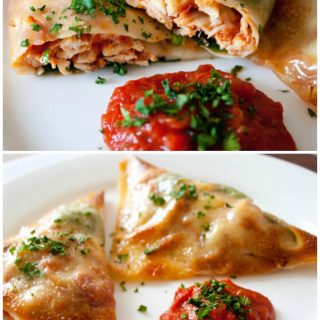 Chicken Parmesan Wraps Recipe! A light and low calorie way to enjoy chicken parmesan! Use egg roll wrappers to wrap and fill them with shredded chicken breast, marinara sauce, mozzarella, and basil, then bake these little bites up until they're crispy and dip them in more marinara! A delicious light appetizer or snack. Kid friendly!