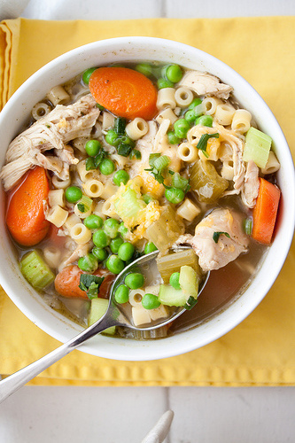 Healthy Chicken Noodle Soup Recipe! Make your own chicken broth or homemade chicken stock and then whip up this hearty and wholesome chicken soup!