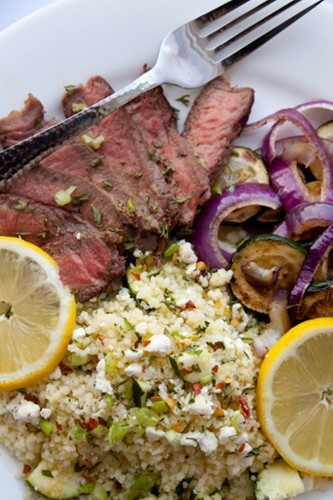 Greek Lemon Feta and Zucchini Couscous Salad Recipe! An easy and wholesome couscous with lemon zest, feta, zucchini, and more. So fresh, bright, and light!