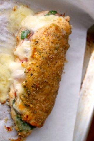 Chicken Stuffed with Pesto, Ham, and Fontina Cheese