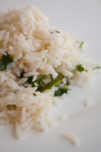 Double Coconut Rice Recipe with Cilantro