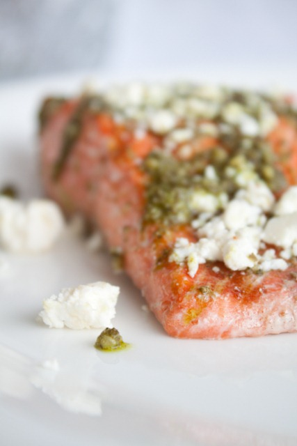 The Simplest Poached Salmon Recipe with Pesto and Feta - this salmon recipe makes the most tender, flakiest fish! 303 calories