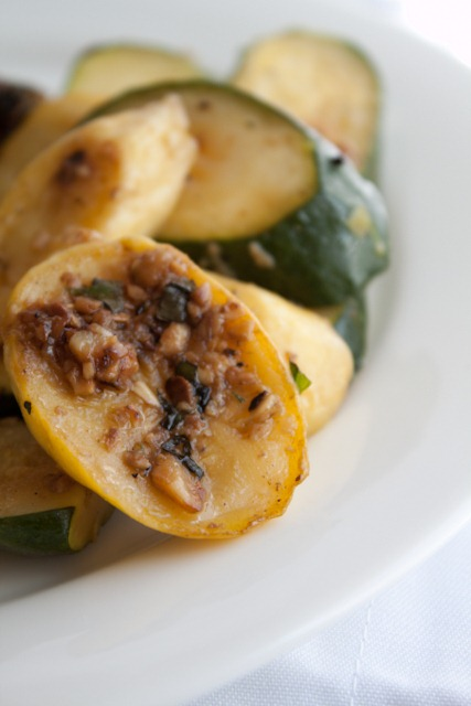 Sauteed Zucchini and Summer Squash with Herbs and Crispy Garlic