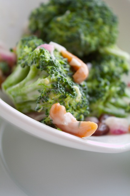 Broccoli Salad with Cashews and Raisins