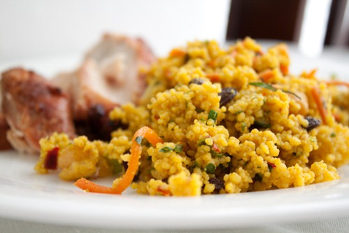 Curried Millet with Chickpeas and Currants! An easy millet recipe and side dish flavored with curry and loaded canned chickpeas, and currants.
