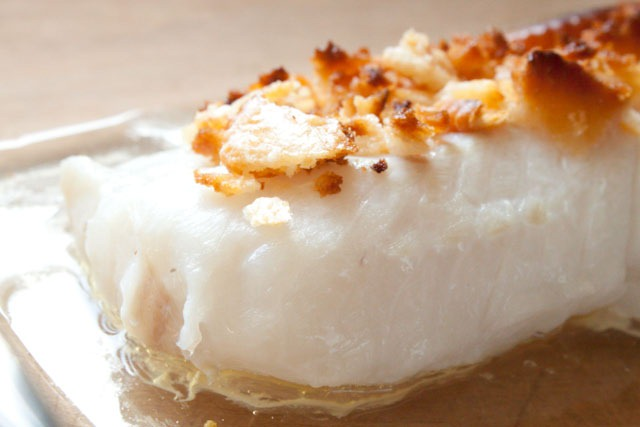 Baked cod with ritz cracker topping recipe dishmaps for Bake cod fish