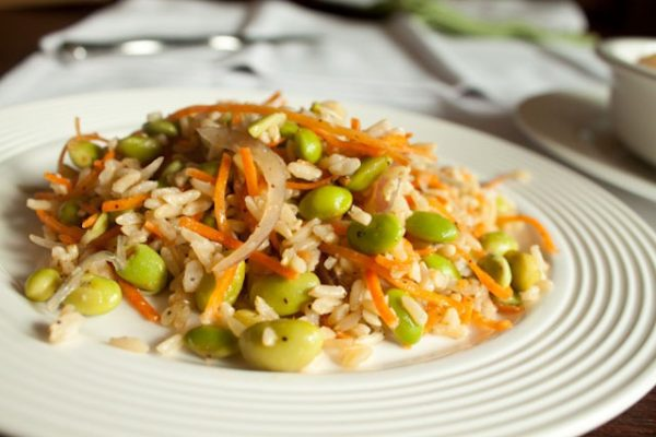 Fried Sesame Brown Rice with Edamame