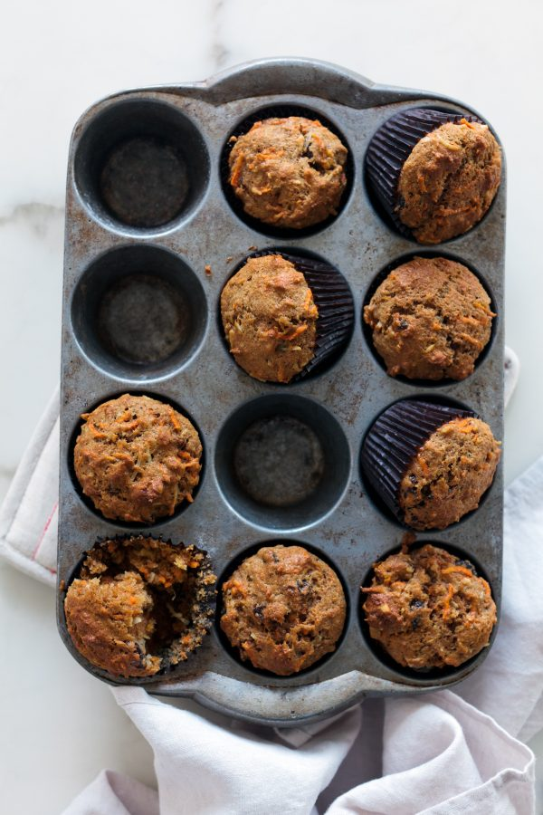 Healthy Morning Glory Muffins Recipe - moist and tender breakfast muffins with raisins, coconut, pineapple, and carrots!