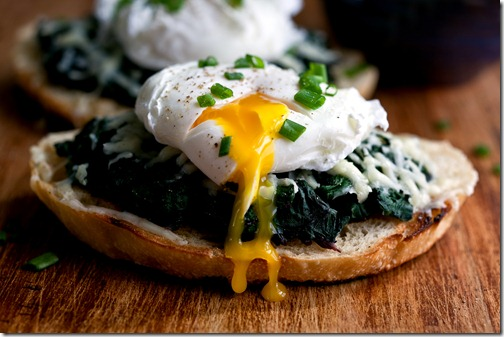 HEALTHY DINNER FOR ONE, Beet Greens Bruschetta with Poached Egg and Fontina, cooked and styled by Andrew Scrivani<br /> NYTCREDIT: Andrew Scrivani for The New York Times
