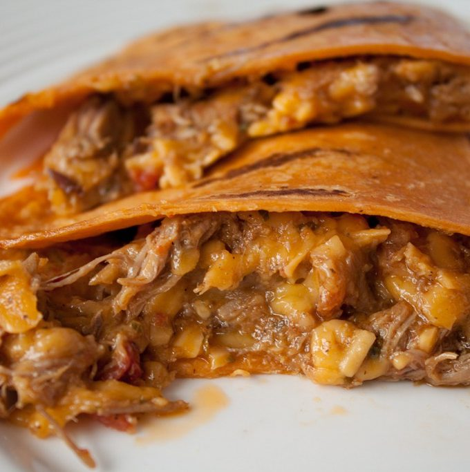 Slow Cooked Beef and Mango Quesadillas