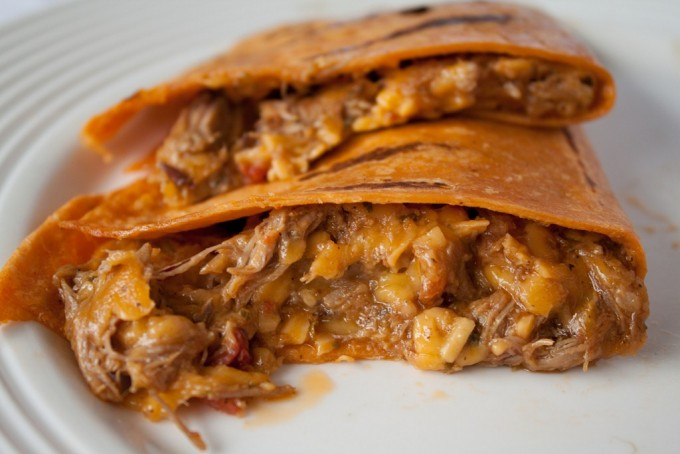 Slow Cooker Beef and Mango Quesadillas! The easiest ever recipe - make crock pot bbq beef then combine it with sliced mango and sharp cheddar in a tortilla for the ultimate quesadilla!
