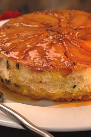 Lighter Caramelized Pear Bread Pudding