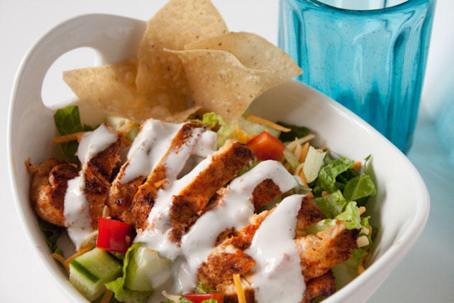 Blackened Chicken Salad with Light Buttermilk Ranch Dressing