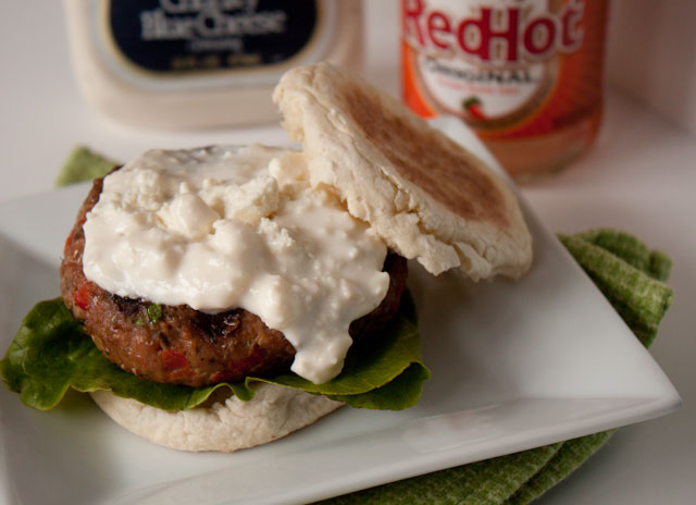 buffalo turkey burgers blue cheese sauce-1