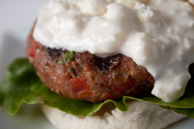 Buffalo Turkey Burgers with Blue Cheese Sauce