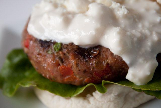 Buffalo Turkey Burgers with Blue Cheese Sauce