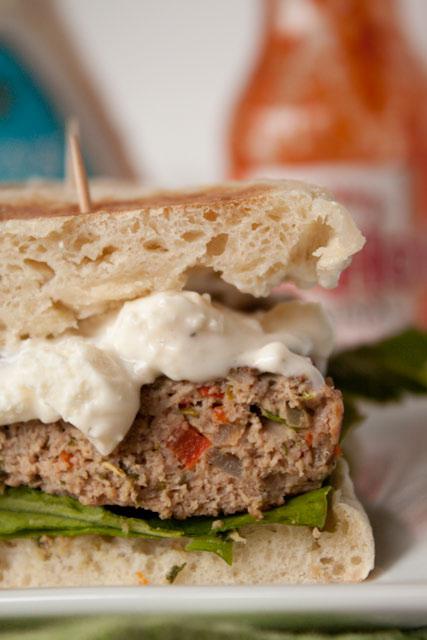 buffalo turkey burgers blue cheese sauce-3