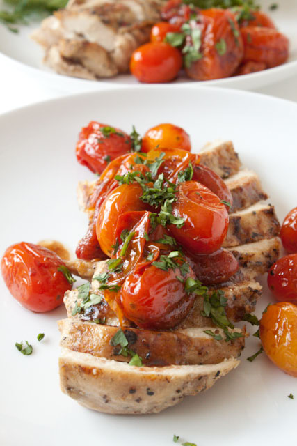 chicken with sauteed grape tomatoes