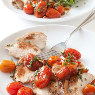 Chicken with Garlic Balsamic Tomatoes - an easy and super flavorful weeknight chicken recipe! Healthy too!