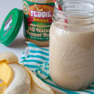 Peanut Butter Banana Smoothie Recipe - A healthy and light peanut butter banana smoothie recipe to start your morning! 335 calories