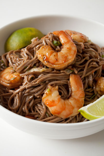 Soba Noodle Salad Recipe with Shrimp and Peanut Ginger Dressing