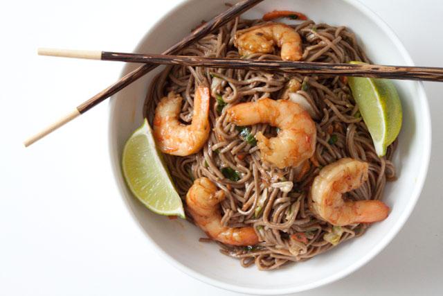 Soba Noodle Salad Recipe with Shrimp and Peanut Ginger Dressing