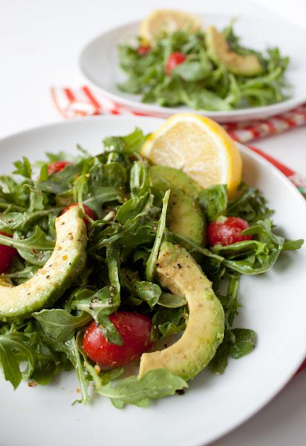 Arugula Avocado Salad with Lemon Vinaigrette