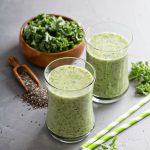 Kale Smoothie Recipe! A delicious green smoothie recipe made with kale, banana, chia, and almond milk!