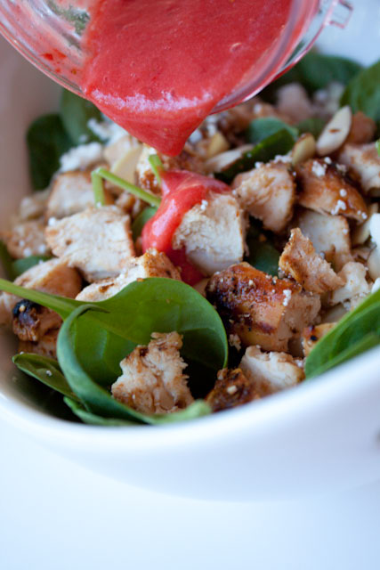 Spinach Salad with Chicken, Feta, Almonds, and Fresh Strawberry Dressing