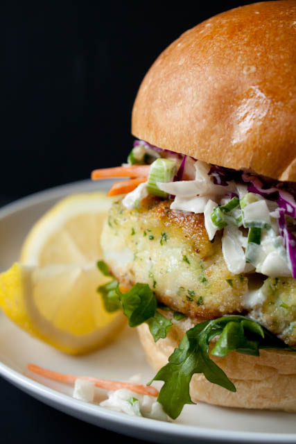 Lighter Fried Fish Sandwich Recipe with Creamy Coleslaw - The ultimate lighter fried fish sandwich recipe with creamy coleslaw - a healthy, baked makeover of McDonald's Filet o' Fish sandwich for only 390 calories!