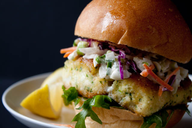 Lighter fried fish sandwich with creamy coleslaw can you for Fried fish sandwich near me