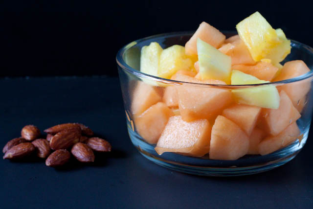 fruit salad and almonds