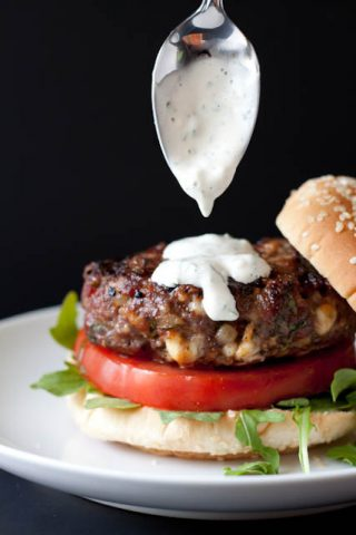 Burgers Stuffed with Blue Cheese and Bacon