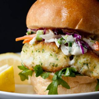 Lighter Fried Fish Sandwich Recipe with Creamy Coleslaw! A healthy baked makeover of McDonald's Filet o' Fish for 390 calories