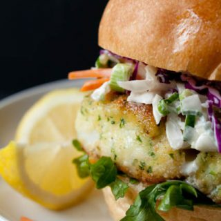 Lighter Fried Fish Sandwich Recipe with Creamy Coleslaw - a healthy makeover of the iconic Filet o Fish for only 390 calories!