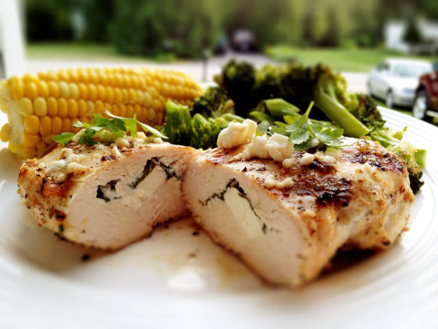 stuffed chicken breast with feta and basil