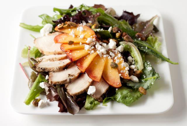 Pistachio Peach Salad with Honey Vinaigrette