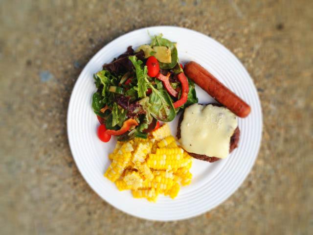 burger corn salad