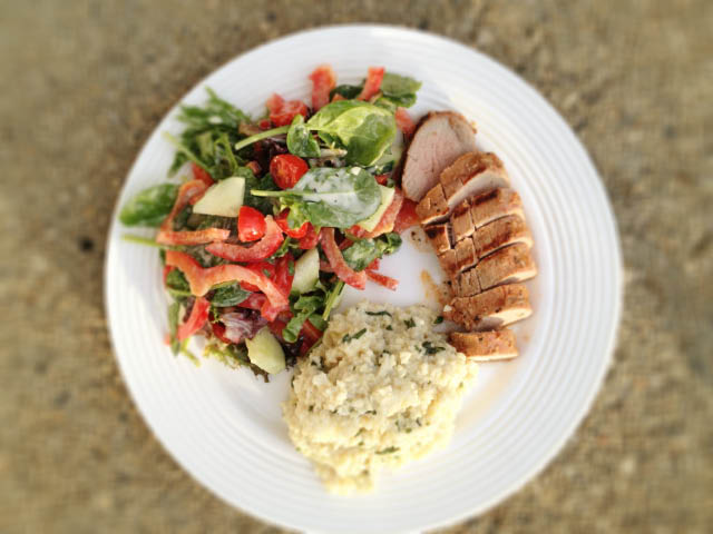 pork tenderloin and creamy millet
