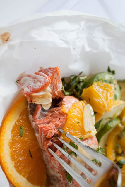 Salmon Baked in Parchment with Orange, Zucchini, and Summer Squash
