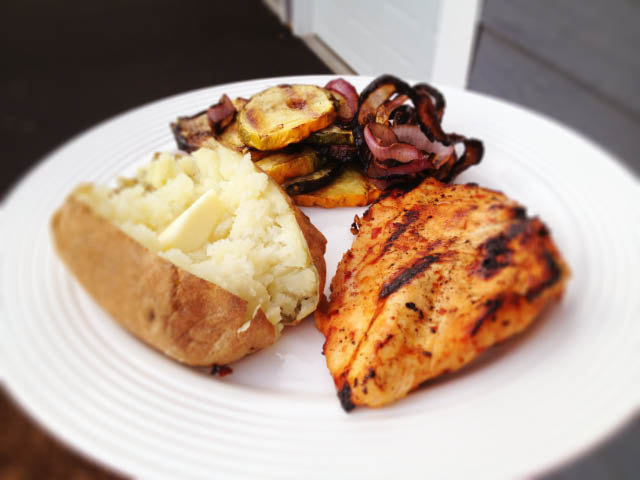chicken and baked potato