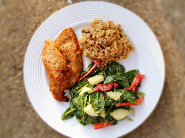 chicken cutlets with brown rice