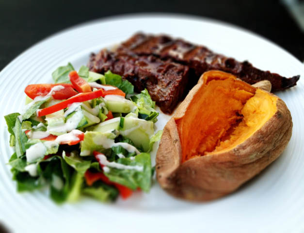 steak salad and sweet potato
