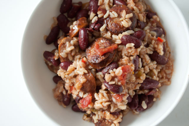 quick red beans and rice with andouille sausage