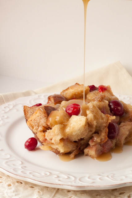 Cranberry Bread Pudding Recipe with Homemade Caramel Sauce