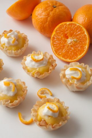 Mini Clementine Cream Tartlets with Homemade Clementine Curd